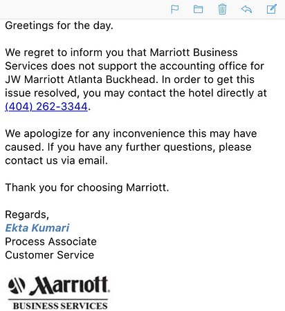 Customer service letter - Picture of JW Marriott Atlanta Buckhead
