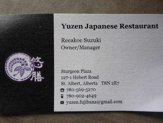 Restaurant business card - Picture of Yuzen Japanese Restaurant, St