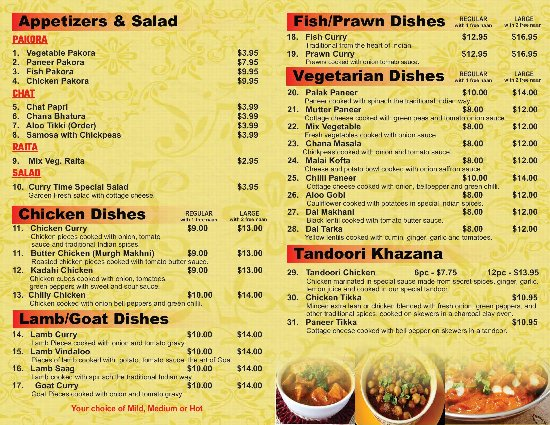 Restaurant Take Out Menu 2 - Picture of Curry Time, Abbotsford