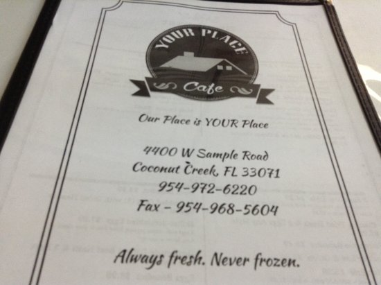 Menu - Picture of Your Place Cafe, Coconut Creek - TripAdvisor