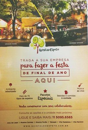 Panfleto do Restaurante - Picture of Quintal do Espeto Tatuape, Sao