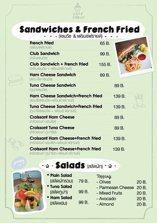 Menu Sandwiches and French Fries - Picture of Cafe Delices, Hua Hin