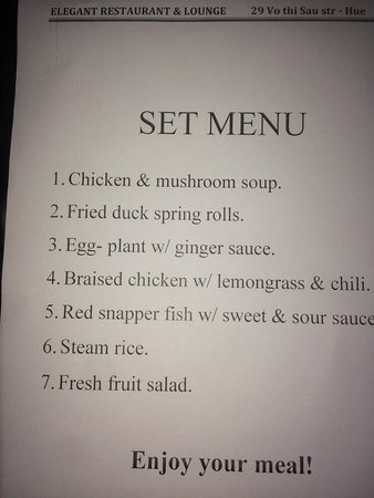 Set menu - Picture of Elegant Restaurant, Hue - TripAdvisor