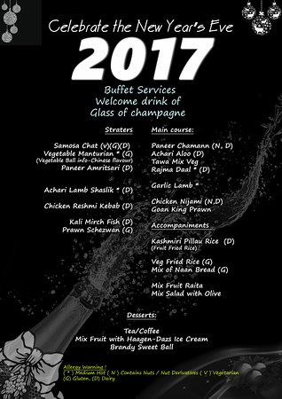 Party Menu for New Year Eve Party 2017 - Picture of The Connoisseur