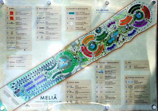 Map Of The Sol Dunas And Melia Dunas With Facilities Shown