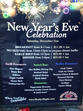 New Year\u0027s Eve MENU - Picture of Shady Maple Smorgasbord, East Earl
