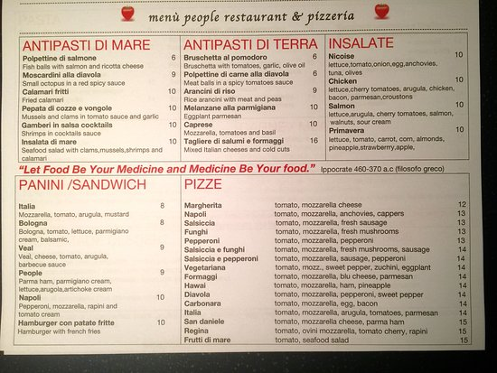menu people restaurant - Picture of People Italian Restaurant - italian menu