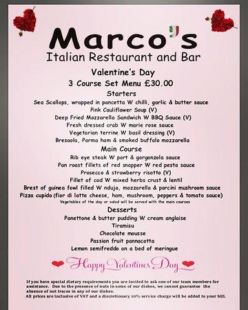 Our Valentine\u0027s Day Menu - Picture of Marco\u0027s Italian Restaurant - italian menu