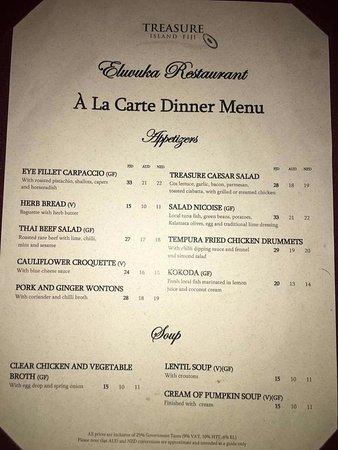 Menu for restaurant - Picture of Treasure Island Resort, Treasure