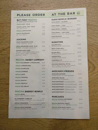 Menu - Picture of Macha Cafe, Milan - TripAdvisor - menu