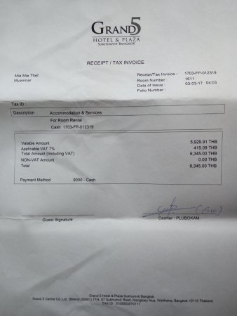 Cash Receipt - Picture of Grand 5 Hotel  Plaza Sukhumvit Bangkok - Cash Recepit
