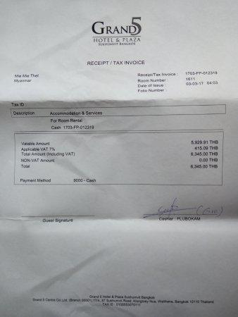 Cash Receipt - Picture of Grand 5 Hotel  Plaza Sukhumvit Bangkok - Cash Recepit