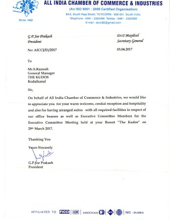 Appreciation Letter from AICCI - Picture of The Kudos, Kodaikanal