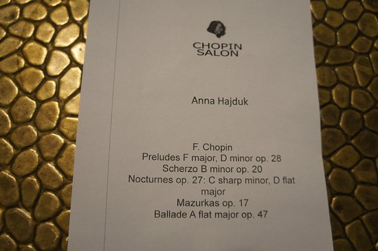 Concert program for the evening - Picture of Chopin Boutique BB