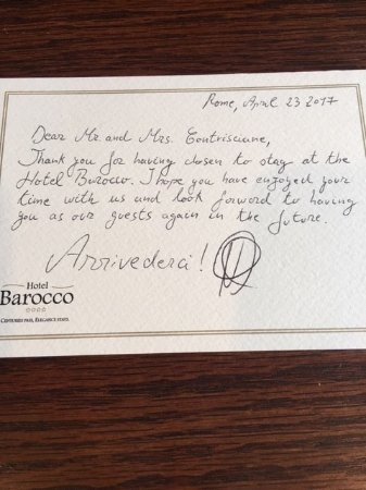 Goodbye Note from Hotel Staff - Picture of Barocco Hotel, Rome