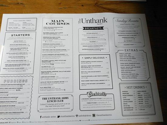 Menu - Picture of Unthank Arms Bar  Restaurant, Norwich - TripAdvisor