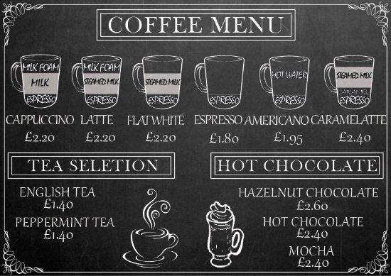 coffee menu - Picture of The Panini Shop, Wantage - TripAdvisor