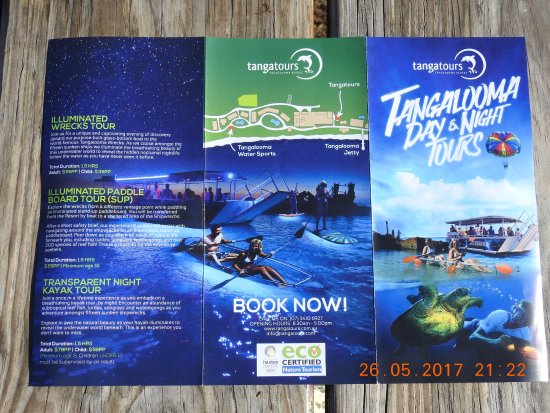 Brochure showing various activities that can be done on the island