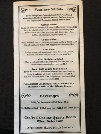 The menu as of July 9, 2017 - Picture of Peerless Saloon and Grille