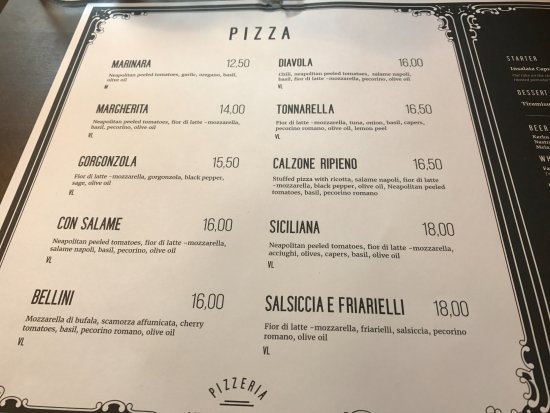 Menu - Picture of Pizzeria Via Tribunali, Helsinki - TripAdvisor - menu