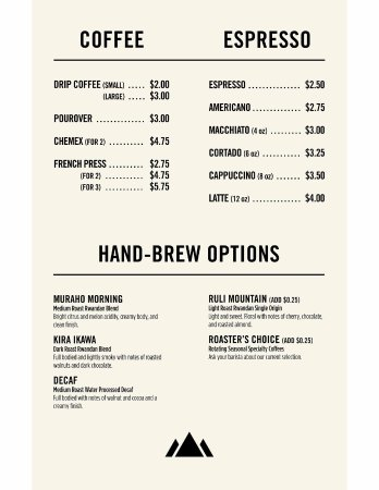 Coffee Menu - Picture of Land Of a Thousand Hills Coffee Company