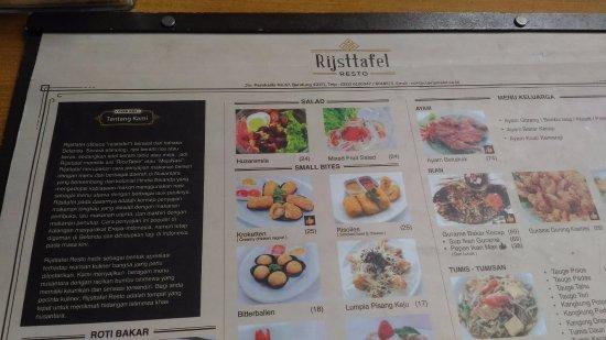 sample of menu list - Picture of Rijsttafel Resto, Bandung - TripAdvisor - menu list sample