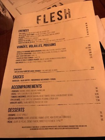 Menu - Picture of Flesh Restaurant Canal Saint Martin, Paris