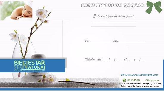 Te ofrecemos certificado de regalo - Picture of Bienestar Natural