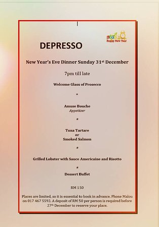 New year menu - Picture of Depresso restaurant in the Laguna