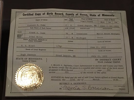 Judy Garland birth certificate - Picture of Oz Museum, Wamego - birth certificate
