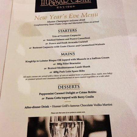 Set New Year Menu - Picture of The Hussar Grill Montecasino