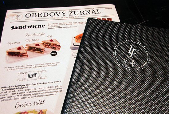 Elegant menu with great selection - Picture of IF Cafe II, Prague