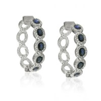 White Gold Blue Sapphire & Diamond Hoop Earrings