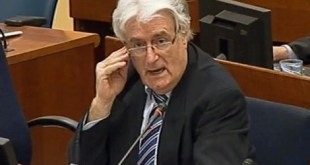 "A screen grab taken from the internet site of the ICTY shows former Bosnian Serb leader Radovan Karadzic speaking at the court in The Hague on October 16, 2012.  A strident Radovan Karadzic told the UN Yugoslav war crimes court Tuesday that nobody thought there would be genocide in Bosnia and that he should be rewarded for doing all to avoid war. RESTRICTED TO EDITORIAL USE - MANDATORY CREDIT ""AFP PHOTO / COURTESY OF THE ICTY"" - NO MARKETING NO ADVERTISING CAMPAIGNS - DISTRIBUTED AS A SERVICE TO CLIENTS"