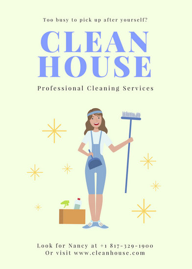 Cream Illustrated Cleaner Cleaning Flyer - Templates by Canva - house cleaning flyer template