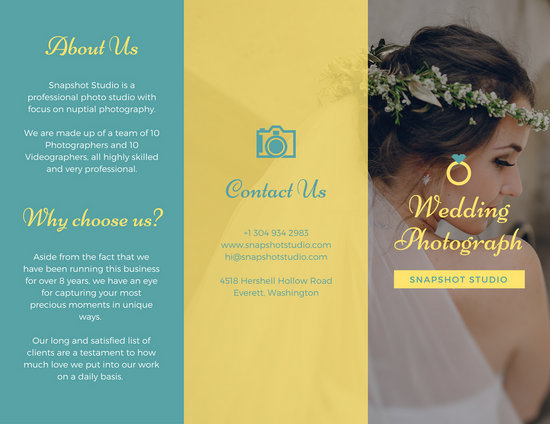 Bright Teal and Yellow Wedding Trifold Brochure - Templates by Canva - wedding brochure template