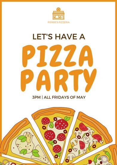 Parks And Recreation Wallpaper Quotes Orange Pizza Party Flyer Templates By Canva