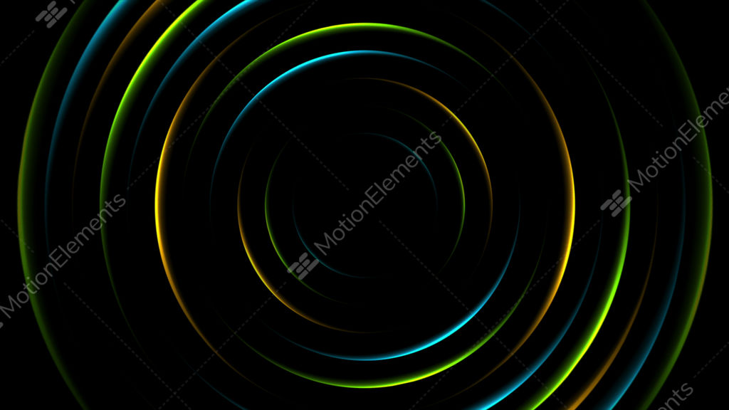 Colorful Neon Glowing Circles Abstract Video Animation Stock
