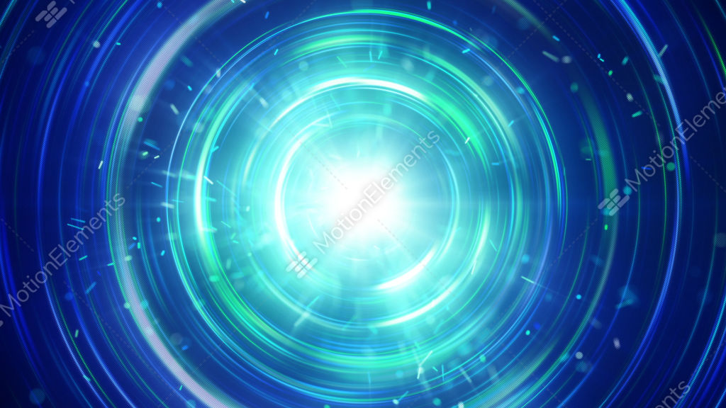Blue Glowing Circles Abstract Futuristic Animation Loopable Stock