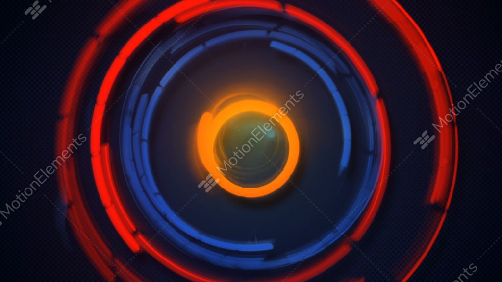 Blue And Orange Glowing Circles Spinning Loopable Animation Stock - animation circles