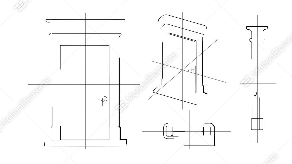 Technische Zeichnung Tür Door Technical Drawing Time Lapse Stock Animation | 1576061