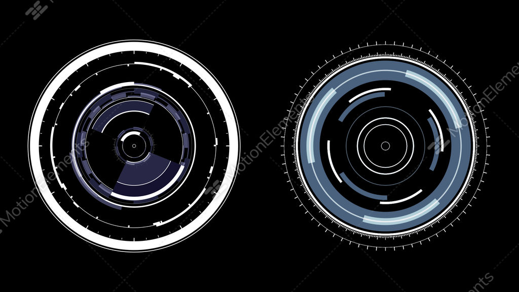 HUD Circles Motion Graphics Two Radial Spin FX Elements Stock