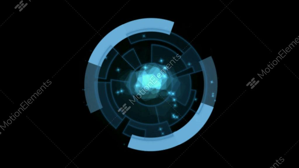 Blue Rotation Circles Computer Interface Stock Animation 810743