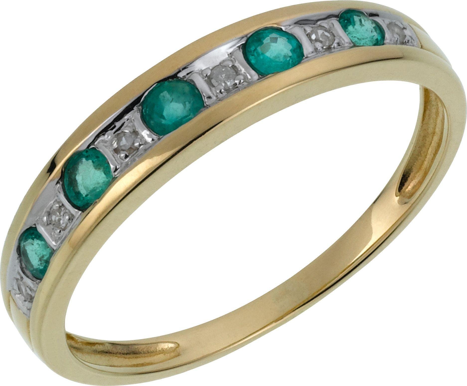 8999 9 Carat Gold Emerald And Diamond Half Eternity