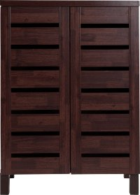 Buy HOME Slatted Shoe Storage Cabinet - Mahogany Effect at ...