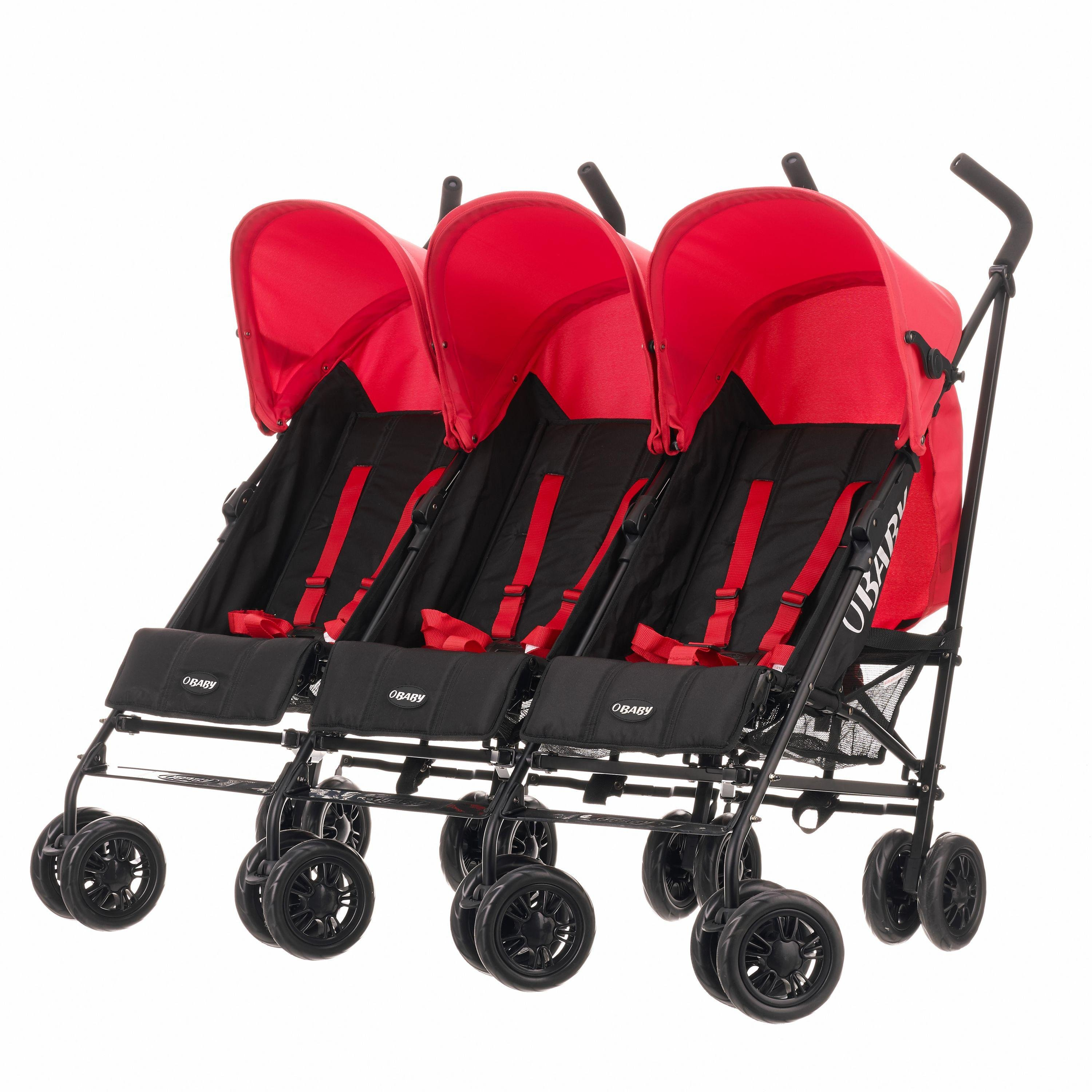 3 Wheel Prams Argos Obaby Mercury Triple Stroller Black And Red 2571991