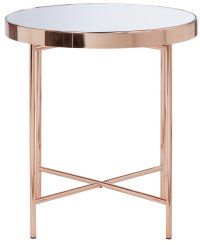 Buy Collection Round Glass Top Side Table - Copper Plated ...