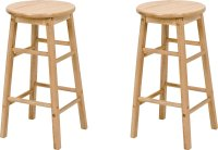 Buy Simple Value Pair of Solid Wood Kitchen Stools   Bar ...