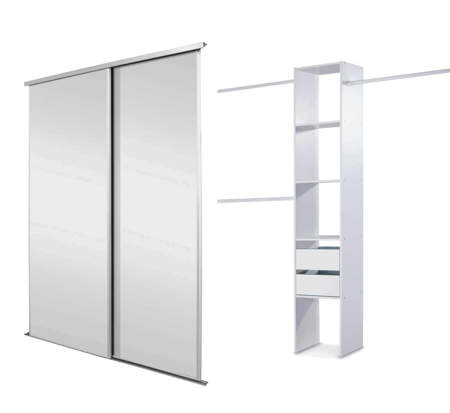 Wardrobe Kits Sale On Sliding Wardrobe Door Kit W1498mm White Frame
