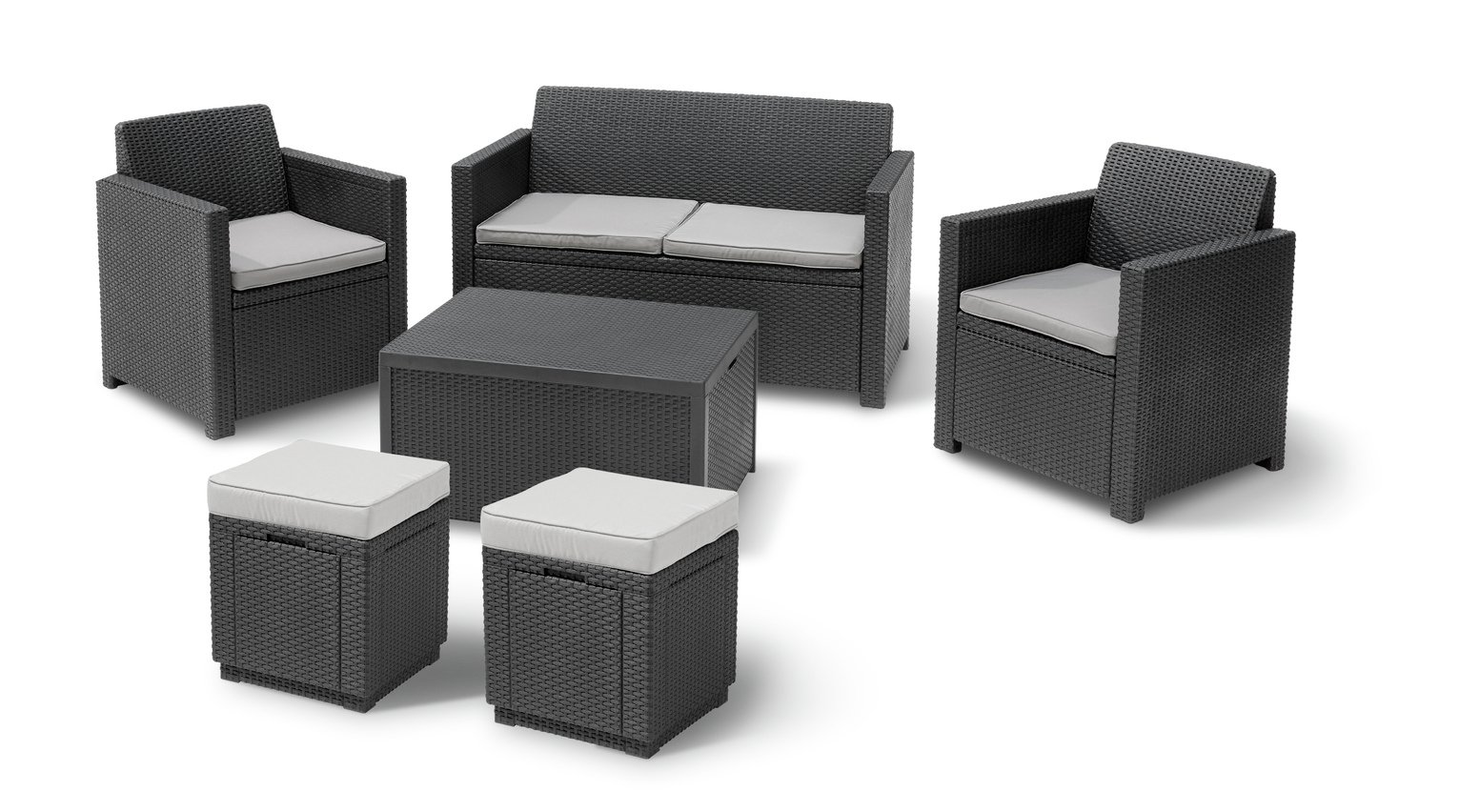 Rattan Sofa Set With Storage Keter Merano 6 Seater Rattan Effect Sofa Set With Storage